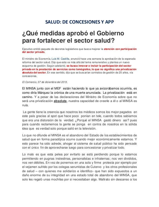 SALUD: DE CONCESIONES Y APP  ¿Qué medidas aprobó el Gobierno para fortalecer el sector salud? Ejecutivo emitió paquete de ...