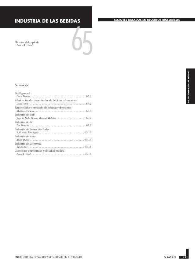ENCICLOPEDIA DE SALUD Y SEGURIDAD EN EL TRABAJO 65.1 SUMARIO 65.1 65.INDUSTRIADELASBEBIDAS INDUSTRIA DE LAS BEBIDAS SECTOR...
