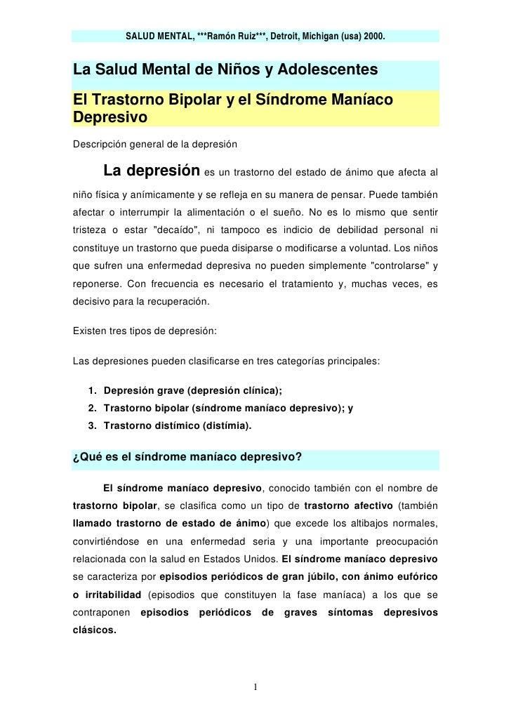 SALUD MENTAL, ***Ramón Ruiz***, Detroit, Michigan (usa) 2000.   La Salud Mental de Niños y Adolescentes El Trastorno Bipol...