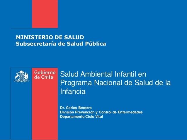 MINISTERIO DE SALUD Subsecretaría de Salud Pública Salud Ambiental Infantil en Programa Nacional de Salud de la Infancia D...