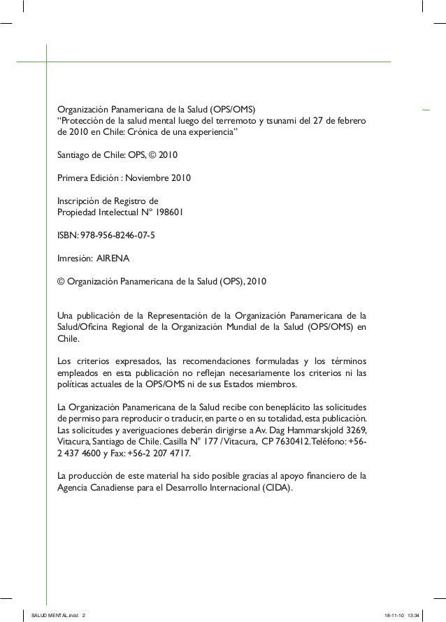 """""""Protección de la salud mental luego del terremoto y tsunami del 27 de febrero de 2010 en chile: Crónica de una experiencia"""". Slide 3"""