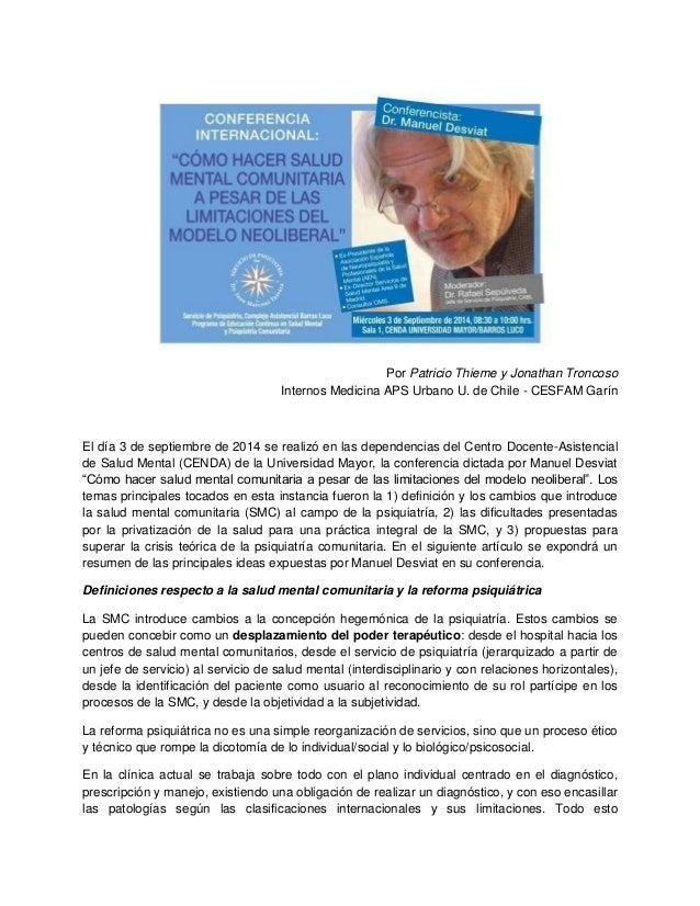 Por Patricio Thieme y Jonathan Troncoso  Internos Medicina APS Urbano U. de Chile - CESFAM Garín  El día 3 de septiembre d...
