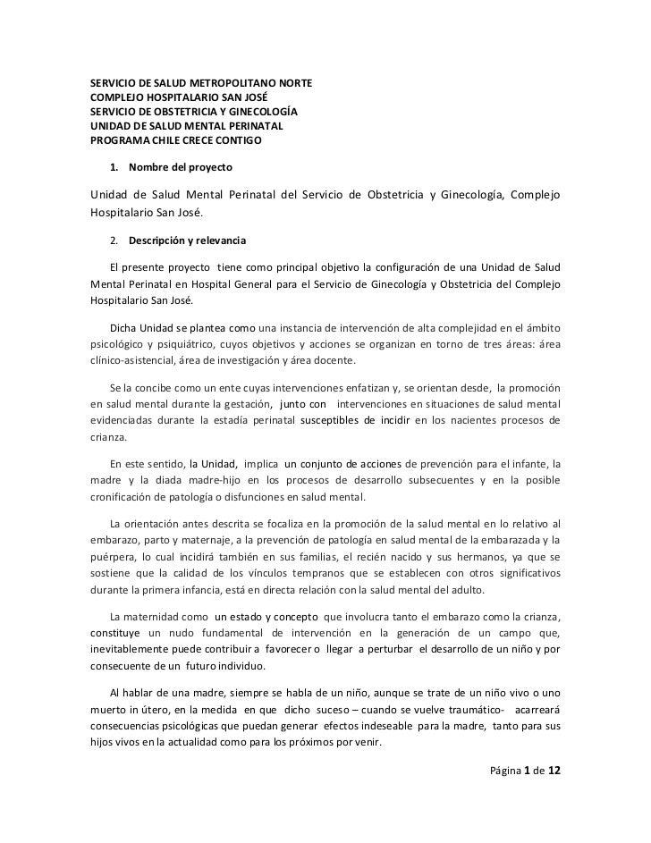 SERVICIO DE SALUD METROPOLITANO NORTECOMPLEJO HOSPITALARIO SAN JOSÉSERVICIO DE OBSTETRICIA Y GINECOLOGÍAUNIDAD DE SALUD ME...