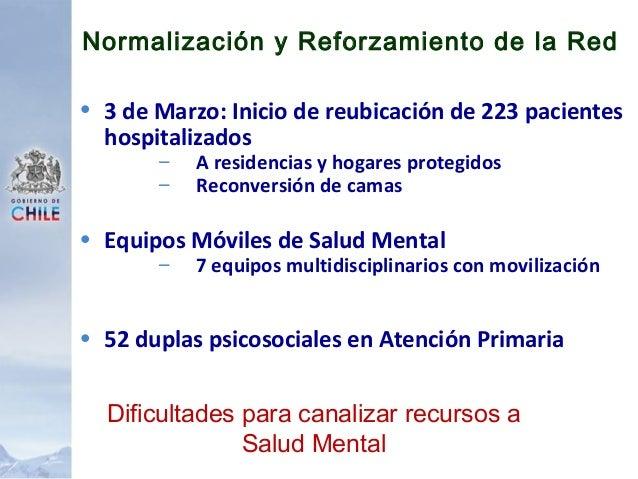 Daños en la Red de Salud Mental Corta Mediana Larga VALPARAISO, VIÑA, ACONCAGUA, O'HIGGINS, MAULE, ÑUBLE; BIO BIO; CONCEPC...