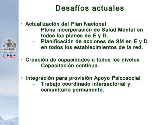 PLAN DE PROTECCIÓN DE LA SALUD MENTAL EN SITUACIONES DE EMERGENCIAS Y DESASTRES, 2010.  (Documento en etapa de consultas)...