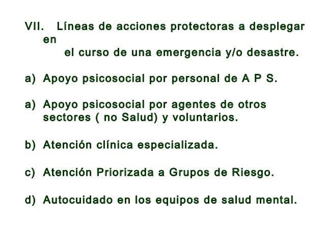 VII. Líneas de acciones protectoras a desplegar en el curso de una emergencia y/o desastre.  e) Capacitación. f) Promoció...