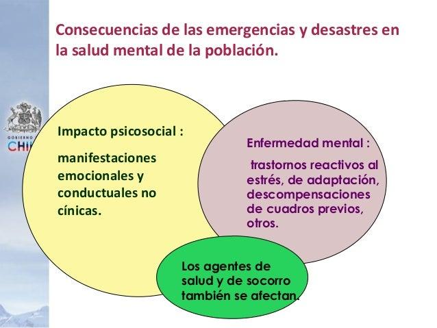 Impacto psicosocial : manifestaciones emocionales y conductuales no cínicas. Enfermedad mental : trastornos reactivos al e...