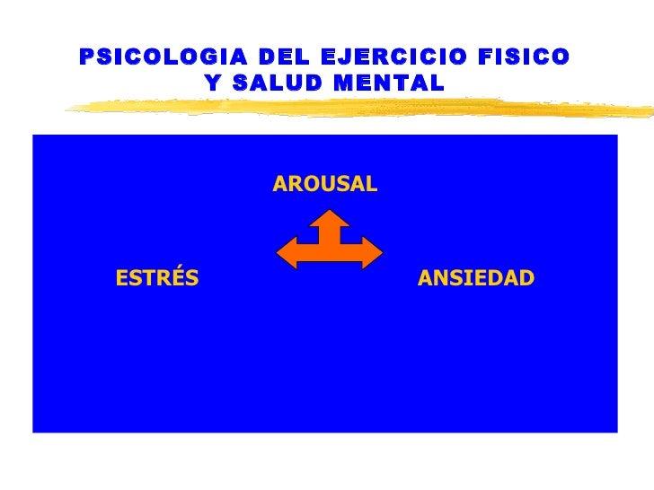 PSICOLOGIA DEL EJERCICIO FISICO Y SALUD MENTAL <ul><li>AROUSAL </li></ul><ul><li>ESTRÉS  ANSIEDAD </li></ul>