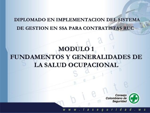 DIPLOMADO EN IMPLEMENTACION DEL SISTEMA  DE GESTION EN SSA PARA CONTRATISTAS RUC           MODULO 1FUNDAMENTOS Y GENERALID...