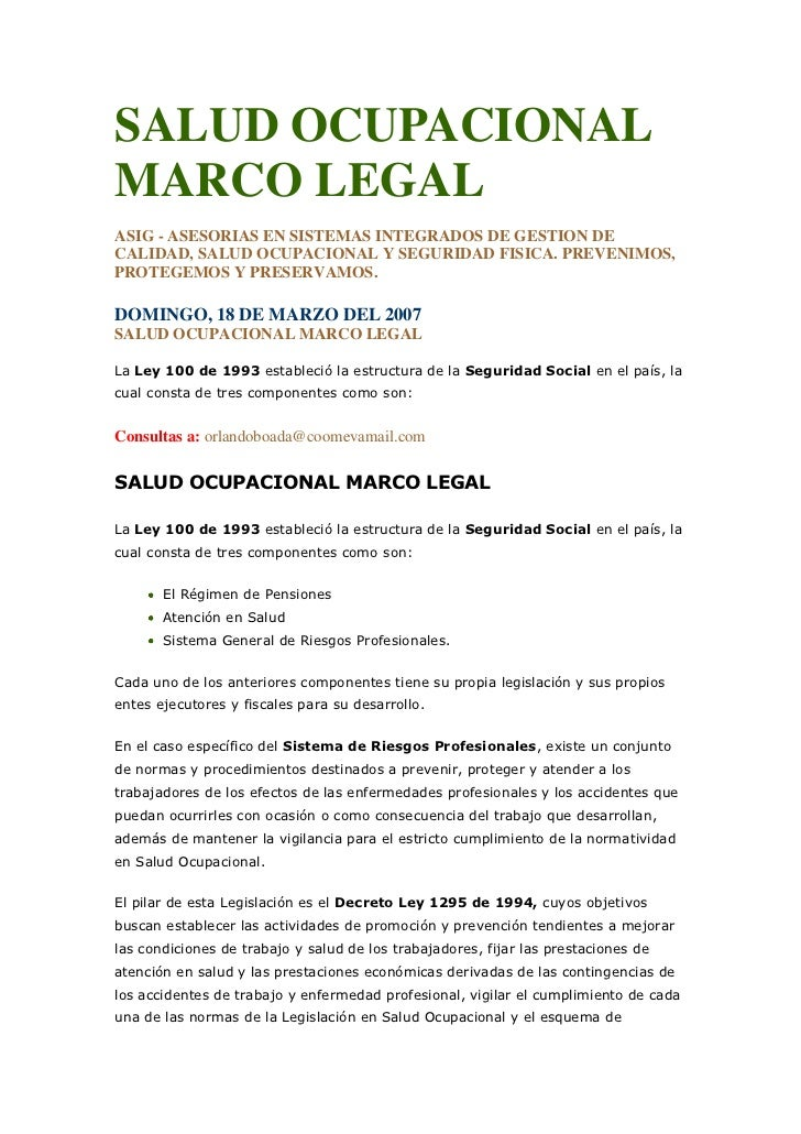 Salud ocupacional marco legal