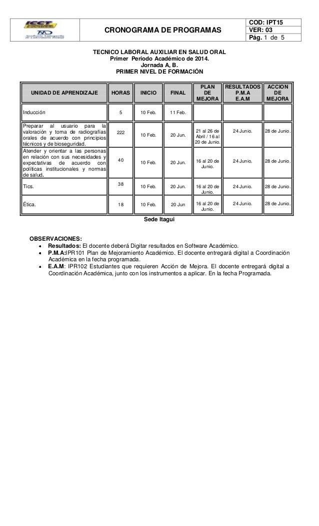 CRONOGRAMA DE PROGRAMAS COD: IPT15 VER: 03 Pág. 1 de 5 TECNICO LABORAL AUXILIAR EN SALUD ORAL Primer Periodo Académico de ...