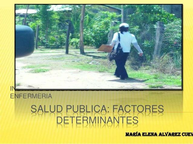 INSTITUTO DE ESTUDIOS SUPERIORES DEENFERMERIA     SALUD PUBLICA: FACTORES         DETERMINANTES                           ...
