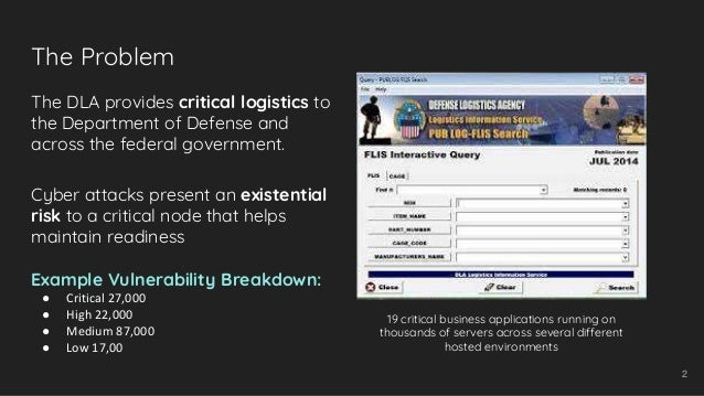 The Problem 2 The DLA provides critical logistics to the Department of Defense and across the federal government. Cyber at...