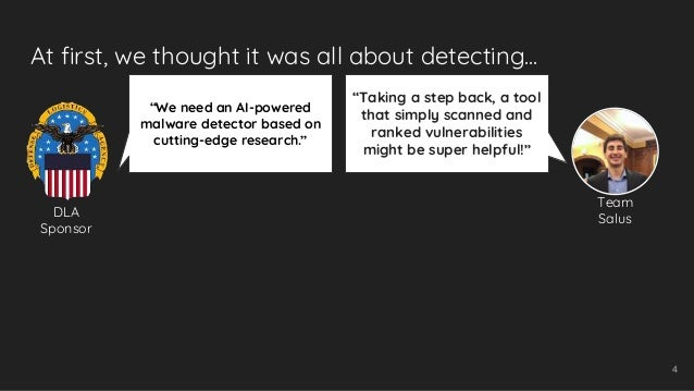 """At first, we thought it was all about detecting... 4 """"We need an AI-powered malware detector based on cutting-edge researc..."""