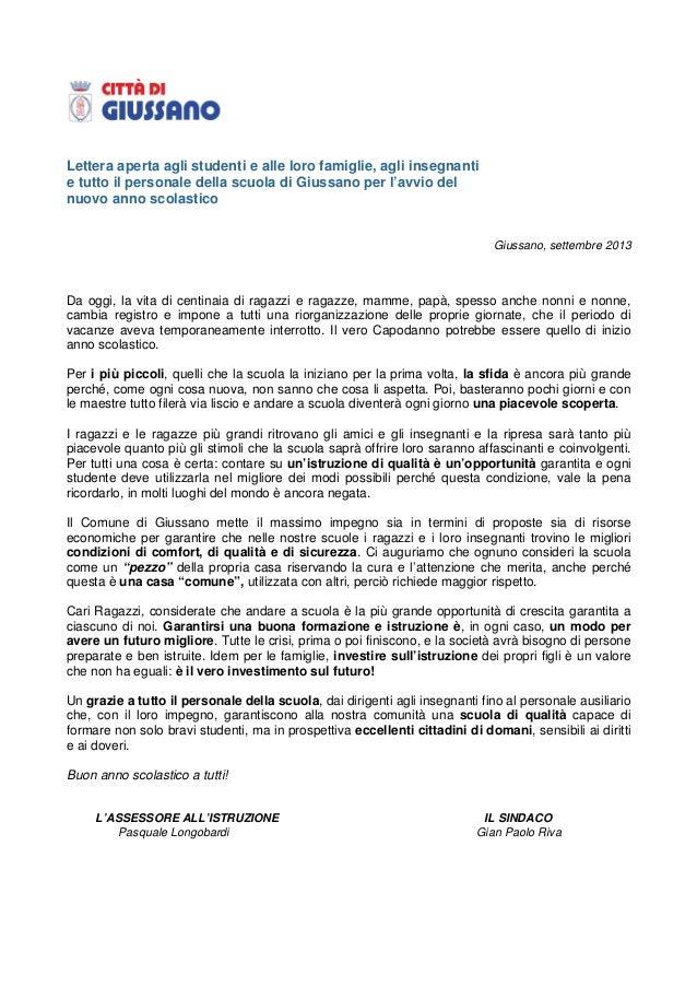 Lettera aperta agli studenti e alle loro famiglie, agli insegnanti e tutto il personale della scuola di Giussano per l'avv...