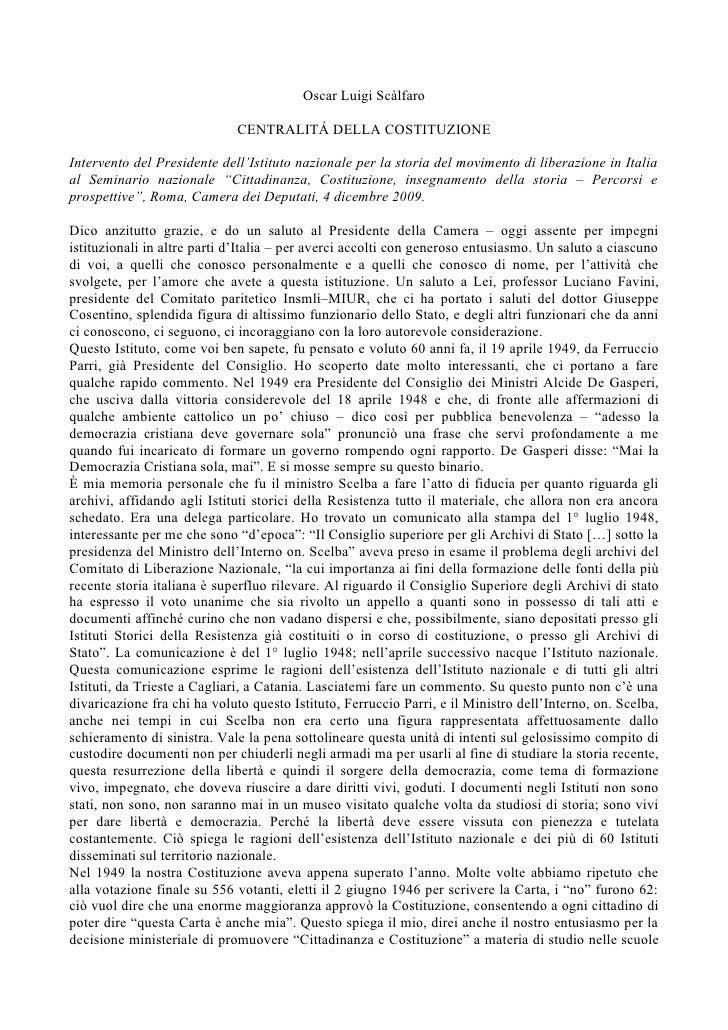"""Fare storia. Crescere cittadini - """"Centralità della Costituzione"""", di Oscar Luigi Scàlfaro"""