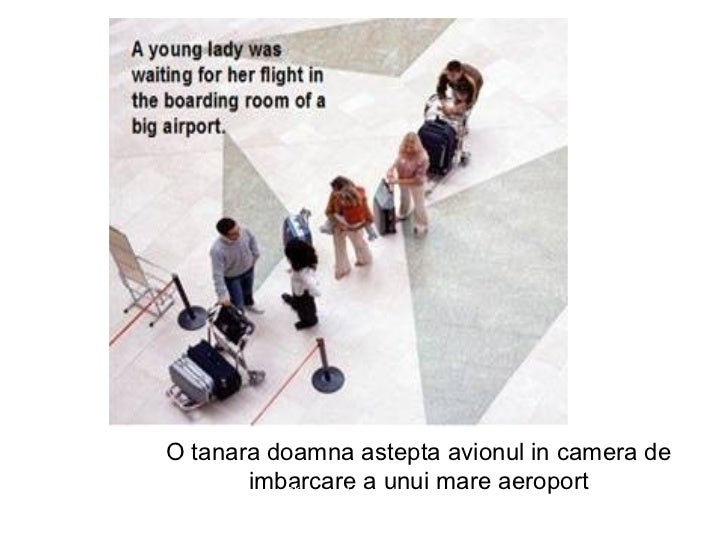O tanara doamna astepta avionul in camera de imbarcare a unui mare aeroport Click to advance the show