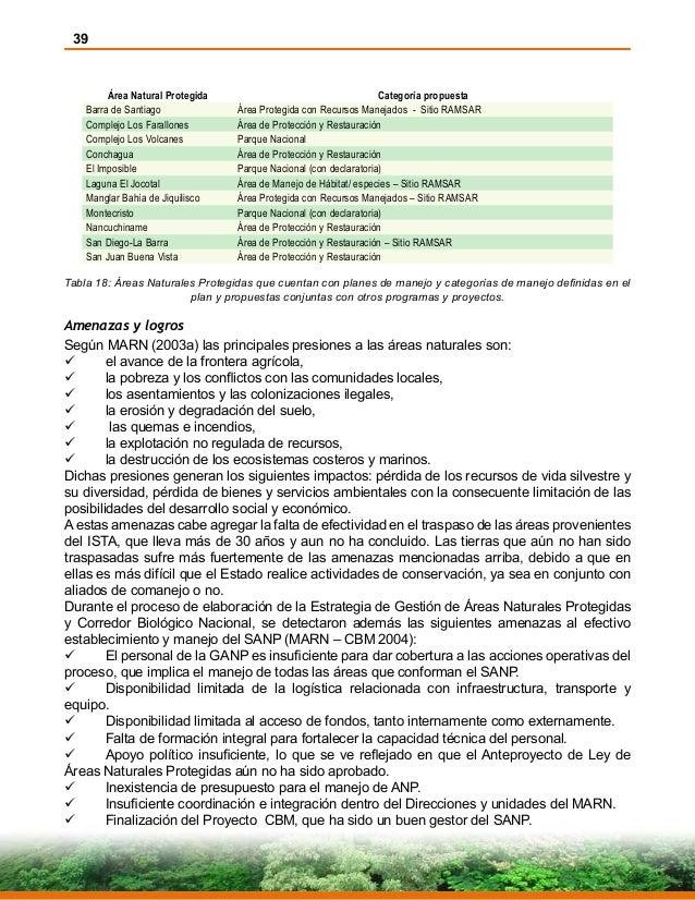 39 Área Natural Protegida Categoría propuesta Barra de Santiago Área Protegida con Recursos Manejados - Sitio RAMSAR Compl...