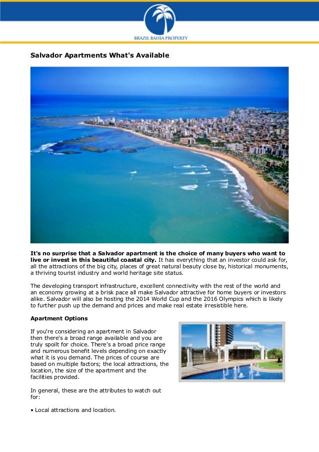Salvador Apartments What's Available  It's no surprise that a Salvador apartment is the choice of many buyers who want to ...