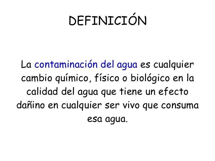 Contaminacion acuatica for Definicion de cuarto