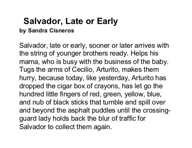 salvador tardy or maybe beginning by way of sandra cisneros