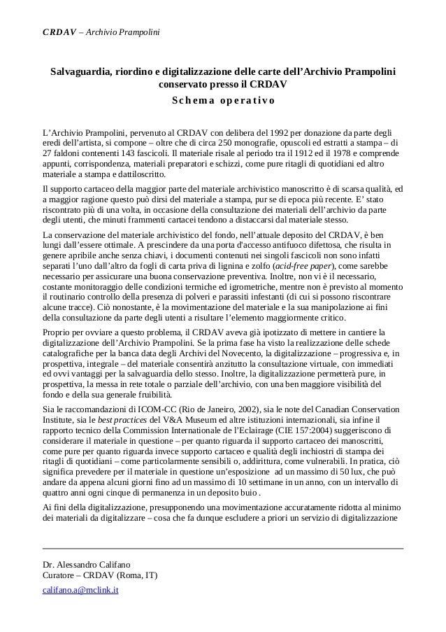 CRDAV – Archivio Prampolini  Salvaguardia, riordino e digitalizzazione delle carte dell'Archivio Prampolini               ...