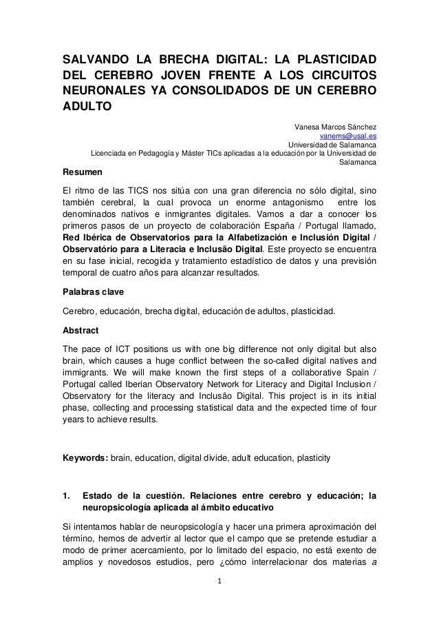 1  SALVANDO LA BRECHA DIGITAL: LA PLASTICIDAD DEL CEREBRO JOVEN FRENTE A LOS CIRCUITOS NEURONALES YA CONSOLIDADOS DE UN ...