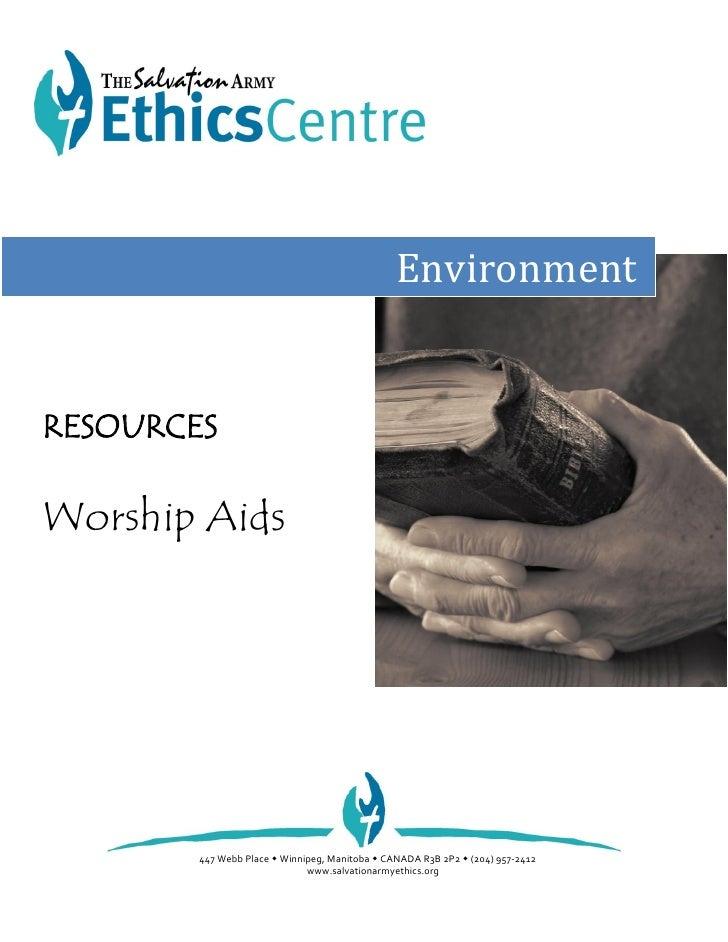 EnvironmentRESOURCESWorship Aids        447 Webb Place  Winnipeg, Manitoba  CANADA R3B 2P2  (204) 957-2412             ...