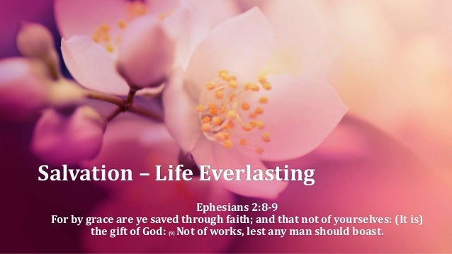 Salvation – Life Everlasting Ephesians 2:8-9 For by grace are ye saved through faith; and that not of yourselves: (It is) ...