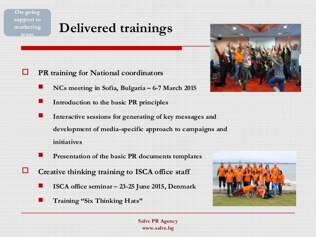 Delivered trainings  PR training for National coordinators  NCs meeting in Sofia, Bulgaria – 6-7 March 2015  Introducti...