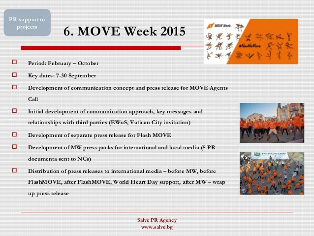 6. MOVE Week 2015  Period: February – October  Key dates: 7-30 September  Development of communication concept and pres...