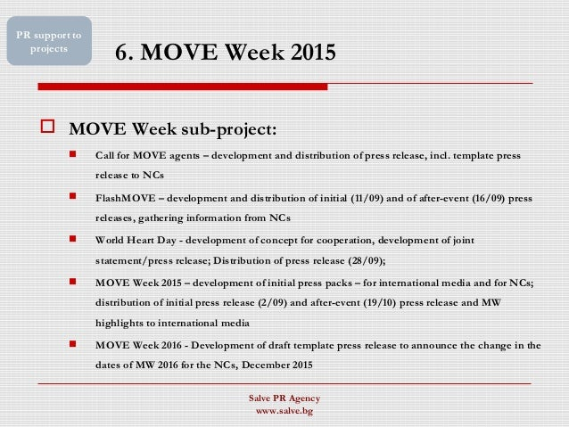6. MOVE Week 2015  MOVE Week sub-project:  Call for MOVE agents – development and distribution of press release, incl. t...