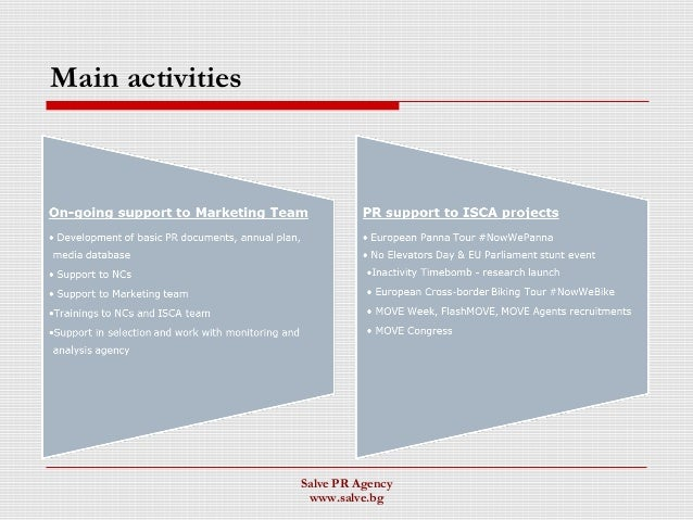 Main activities Salve PR Agency www.salve.bg