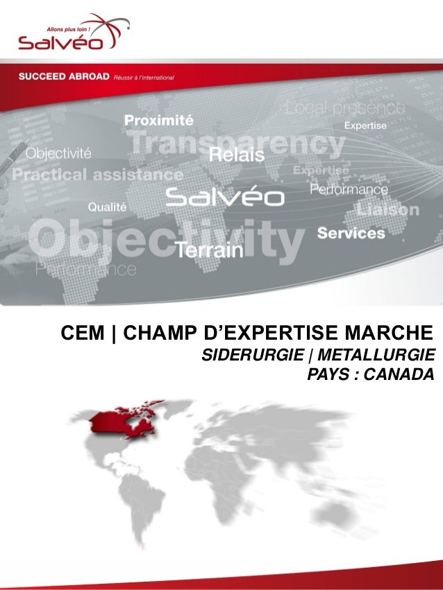 Groupe SALVEO - Champs d'Expertise Marche - Sidérurgie metallurgie Canada 2013/2014