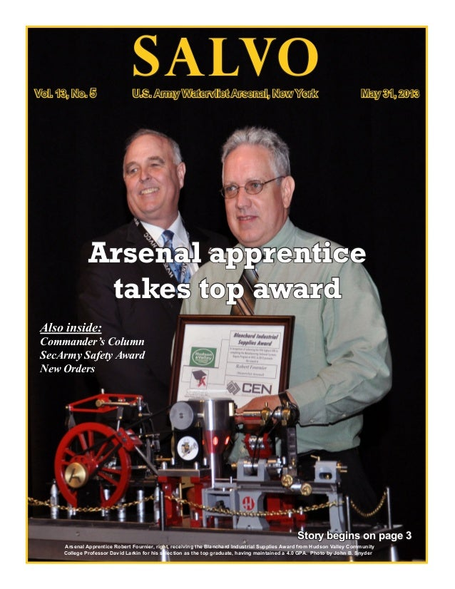 SALVOStory begins on page 3Arsenal Apprentice Robert Fournier, right, receiving the Blanchard Industrial Supplies Award fr...