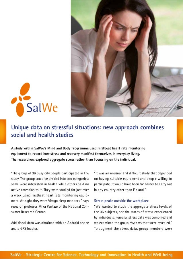 Unique data on stressful situations: new approach combines social and health studies A study within SalWe's Mind and Body ...