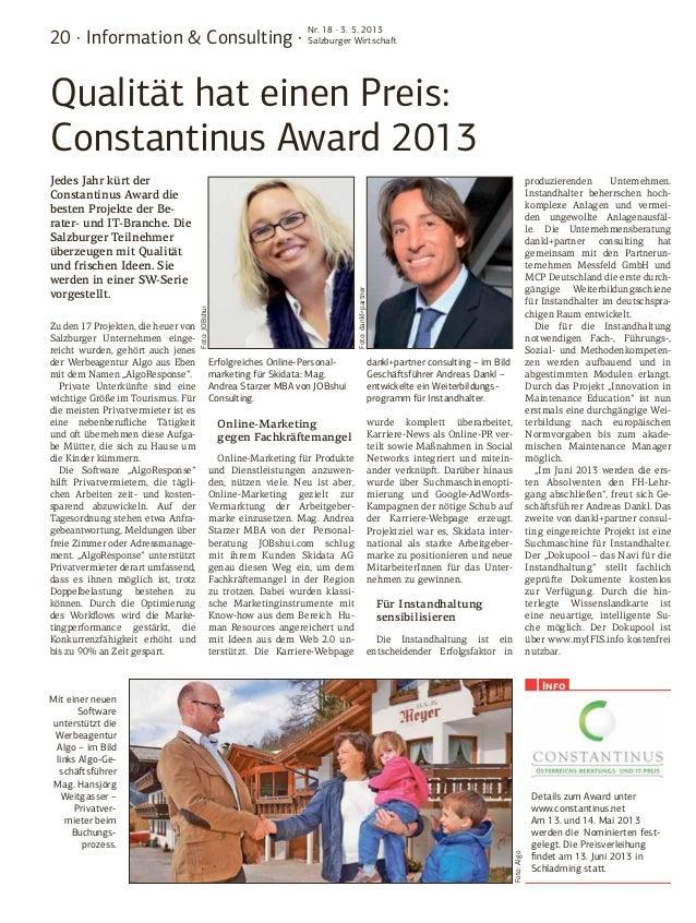 20 · Information & Consulting ·Nr. 18 · 3. 5. 2013Salzburger WirtschaftQualität hat einen Preis:Constantinus Award 2013Zu ...