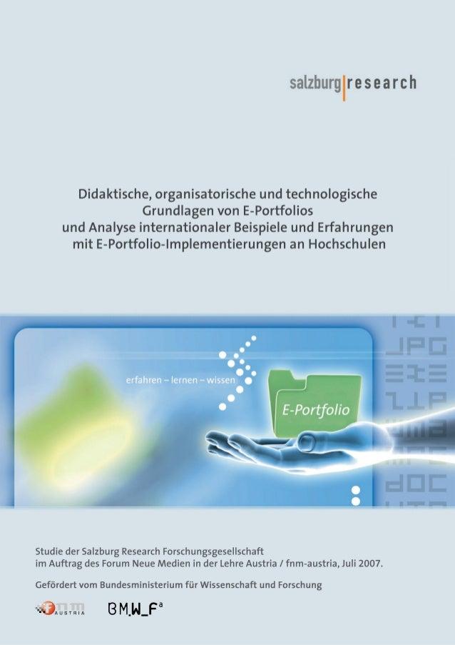 Didaktische, organisatorische und technologische Grundlagen von E-Portfolios und Analyse internationaler Beispiele und Erf...