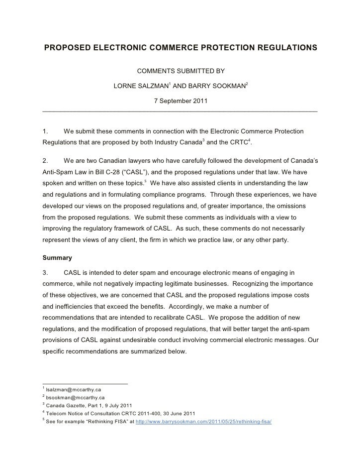 PROPOSED ELECTRONIC COMMERCE PROTECTION REGULATIONS                                      COMMENTS SUBMITTED BY            ...
