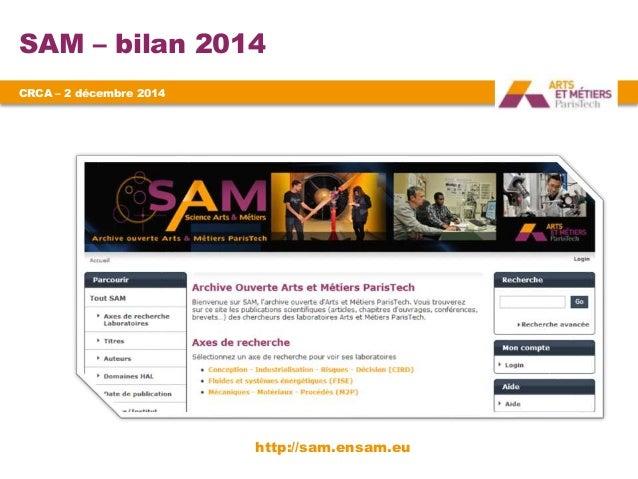 SAM – bilan 2014  CRCA – 2 décembre 2014  http://sam.ensam.eu