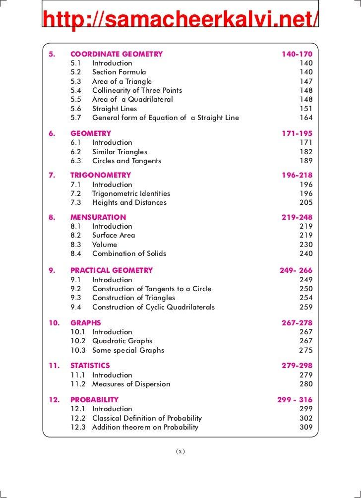 Samacheer kalvi syllabus for 10th maths