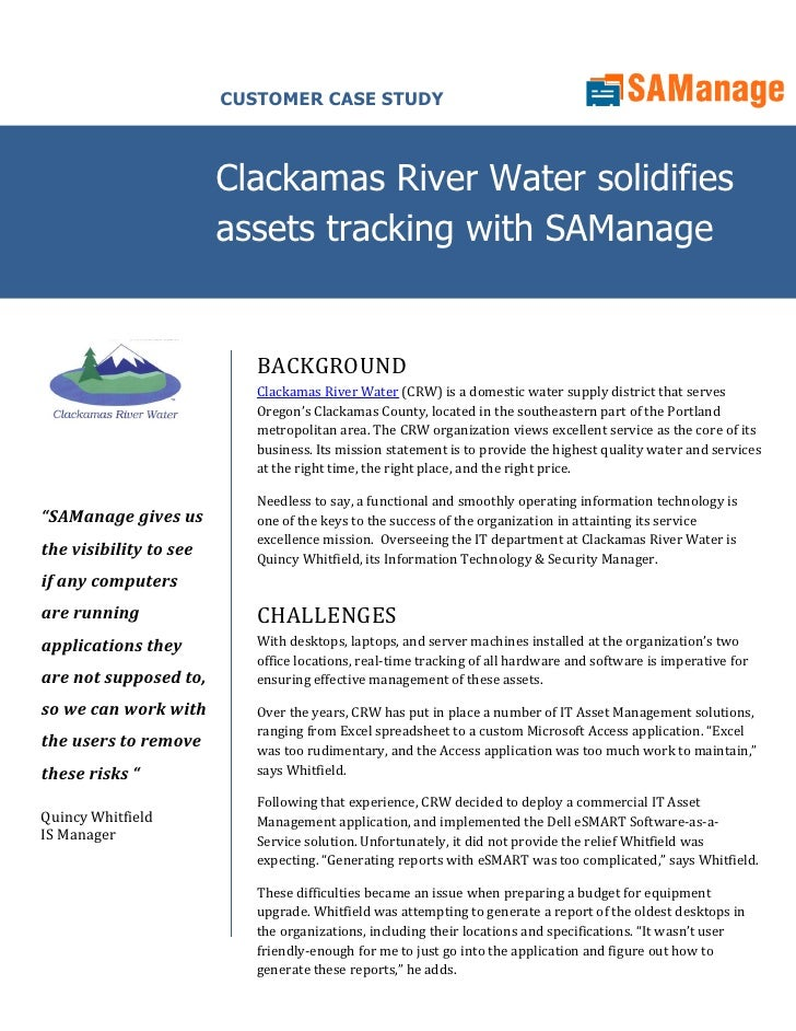CUSTOMER CASE STUDY                            Clackamas River Water solidifies                         assets tracking wi...