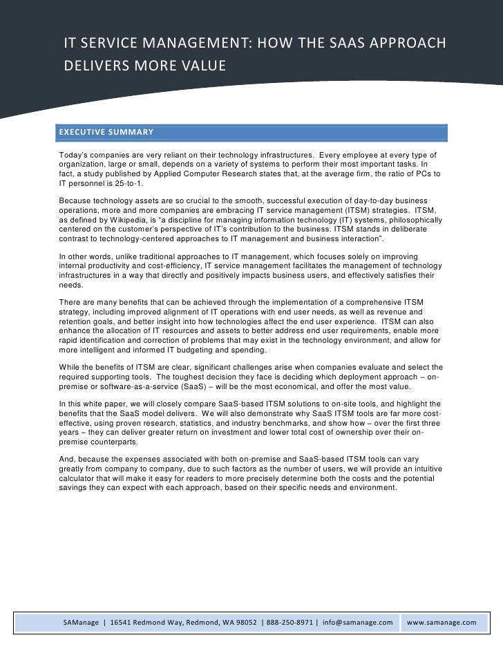 1   IT Service Management: How the SaaS Approach Delivers More Value      IT SERVICE MANAGEMENT: HOW THE SAAS APPROACH    ...