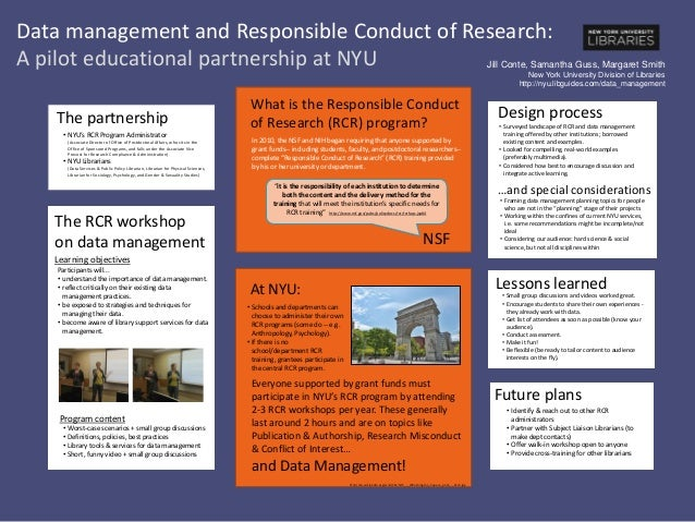 Data management and Responsible Conduct of Research: A pilot educational partnership at NYU • Small group discussions and ...