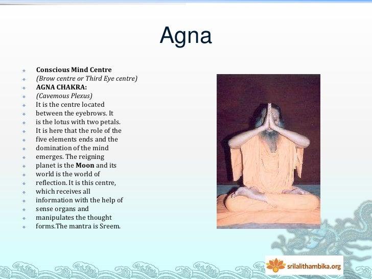 Agna   Conscious Mind Centre   (Brow centre or Third Eye centre)   AGNA CHAKRA:   (Cavemous Plexus)   It is the centr...