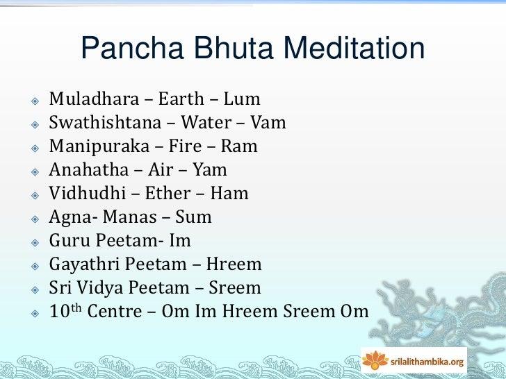 Pancha Bhuta Meditation   Muladhara – Earth – Lum   Swathishtana – Water – Vam   Manipuraka – Fire – Ram   Anahatha – ...