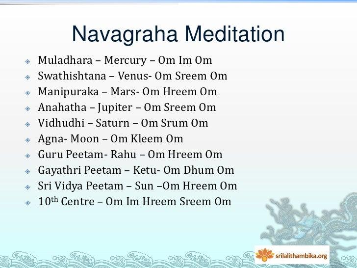 Navagraha Meditation   Muladhara – Mercury – Om Im Om   Swathishtana – Venus- Om Sreem Om   Manipuraka – Mars- Om Hreem...