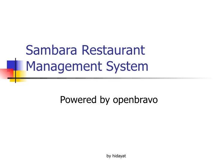 Sambara Restaurant Management System Powered by openbravo