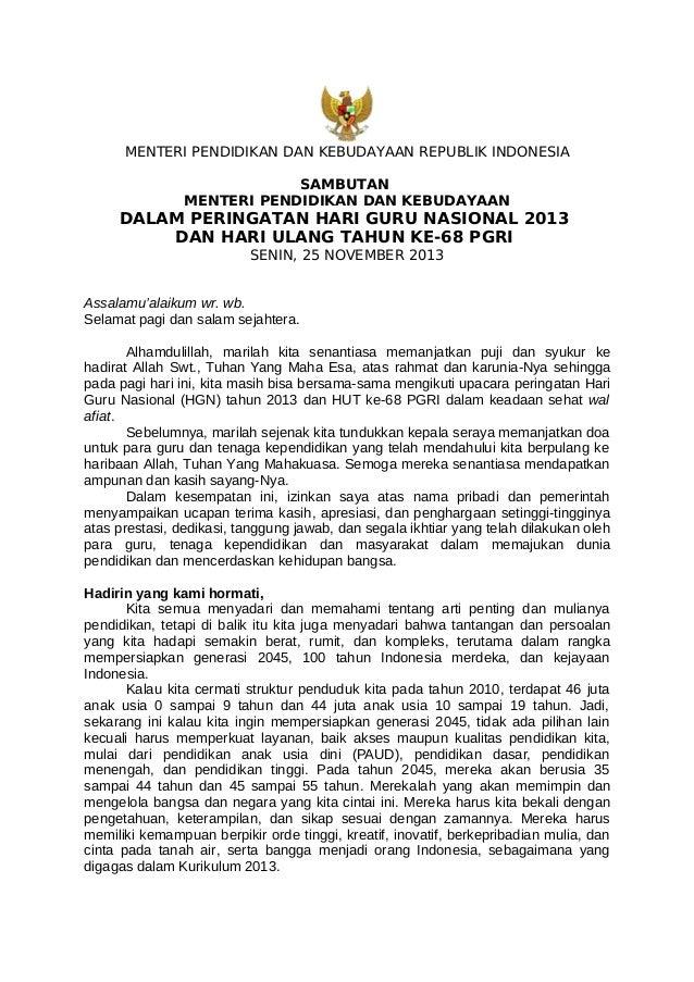 MENTERI PENDIDIKAN DAN KEBUDAYAAN REPUBLIK INDONESIA SAMBUTAN MENTERI PENDIDIKAN DAN KEBUDAYAAN  DALAM PERINGATAN HARI GUR...