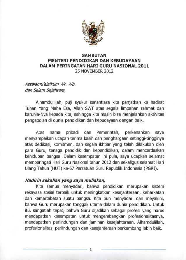 Sambutan Mendikbud Hari Guru Nasional 2012